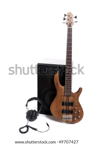Detail of a bass and speakers, isolated over white - stock photo