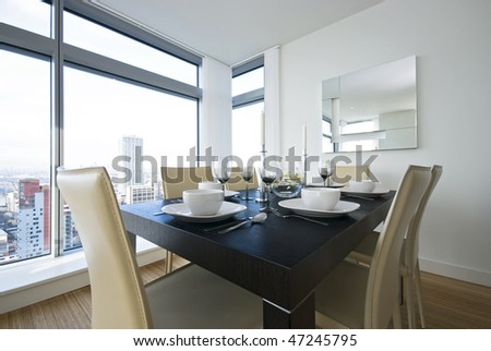 Detail of a beautiful dining area set up - stock photo
