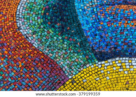 Detail of a beautiful old crumbling abstract ceramic mosaic decoration was destroyed building. Venetian mosaic as a decorative background. Selective focus - stock photo