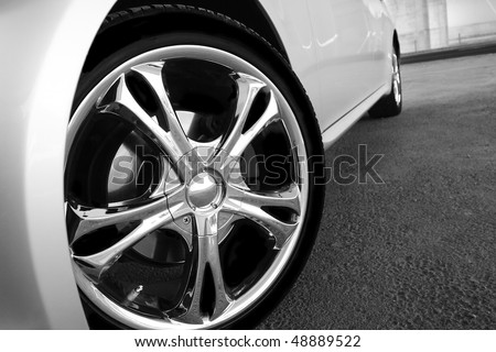 Detail of a beauty and fast sport car - stock photo