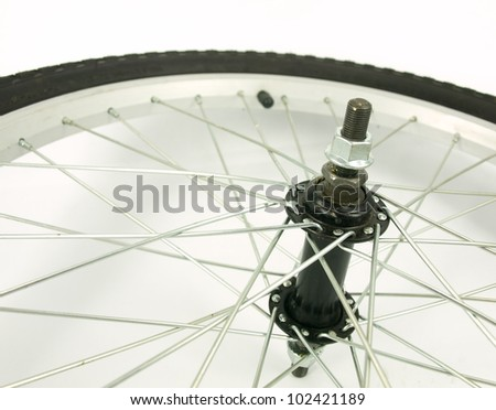 Detail of a bicycle's wheel - stock photo