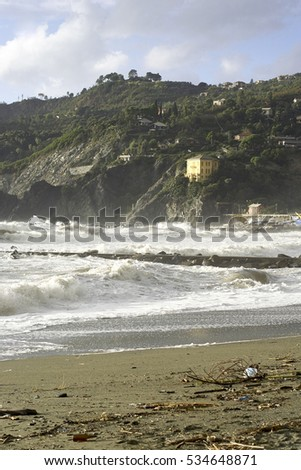 detail of a big storm in levanto