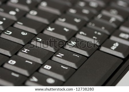 Detail of a black keyboard, shallow DoF