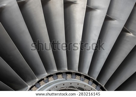 Detail of a bladed section of a Jet engine - stock photo