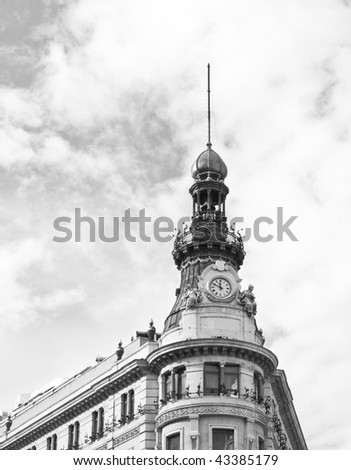 Detail of a building in black and white - stock photo