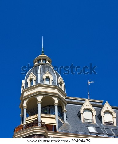 Detail of a building of new construction with old appearance - stock photo