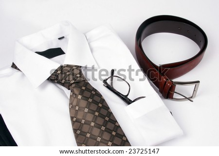 Detail of a Business Man Suit with brown tie - stock photo