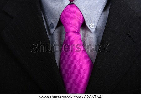 detail of a Business man Suit with pink tie - stock photo