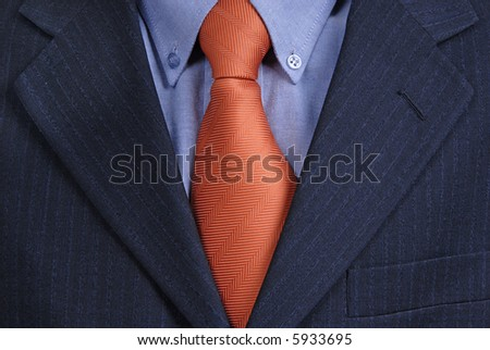 detail of a Business man Suit with red tie - stock photo