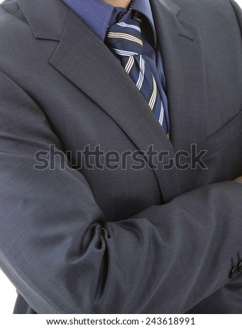 detail of a business man with blue tie - stock photo