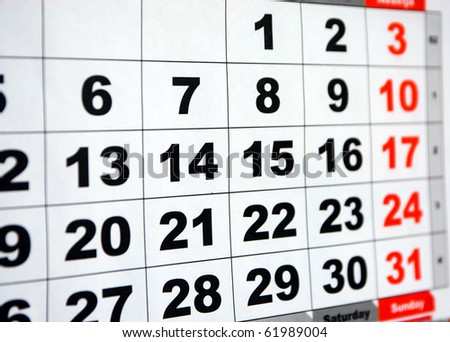 detail of a calendar - stock photo