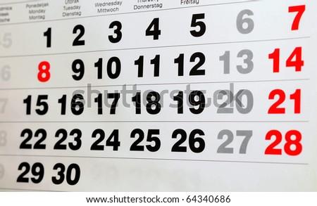 detail of a calendar - stock photo
