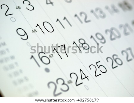 Detail of a calendar page with selective focus - stock photo