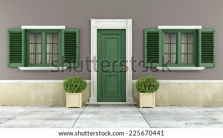 Detail of a classic house with green wooden windows and front door - 3D Rendering  - stock photo
