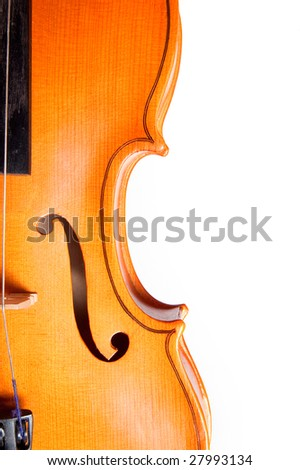 Detail of a classical violin isolated on white background - stock photo