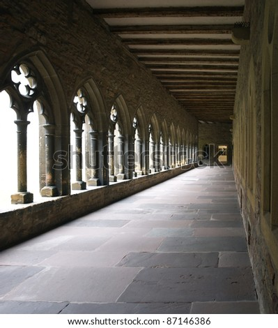 detail of a cloister with cross-coat in Colmar (Alsace/France) - stock photo