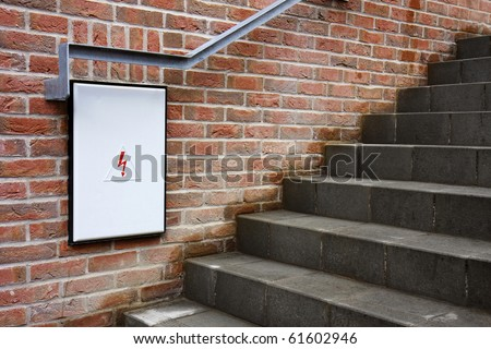 detail closed fuse box white door stock photo 61602946 shutterstock detail of a closed fuse box white door under the stairs brick wall