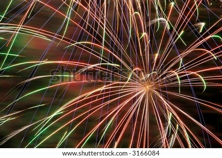Detail of a colorful firework - stock photo