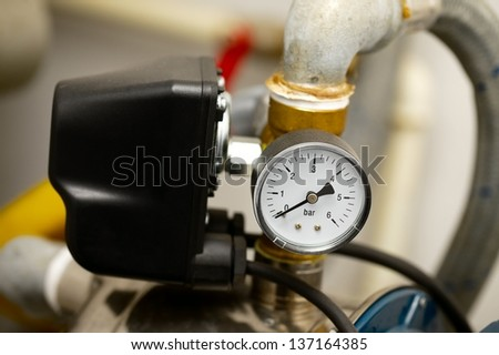Detail of a compressor machine - stock photo