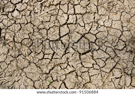 detail of a cracked earth - stock photo