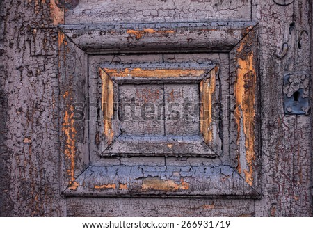 Detail of a door: unrenovated linseed oil paint surface. Photographed in Tallinn, Estonia, Europe.  - stock photo