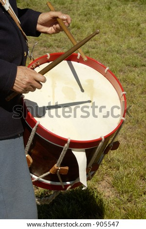 Detail of a drummer in uniform during a civil war battle enactment. - stock photo