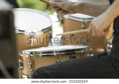 detail of a drummer on the rock concert,  - stock photo