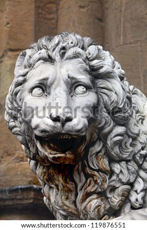 Detail of a famous medieval lion statue by Flaminio Vacca in Florence, Italy