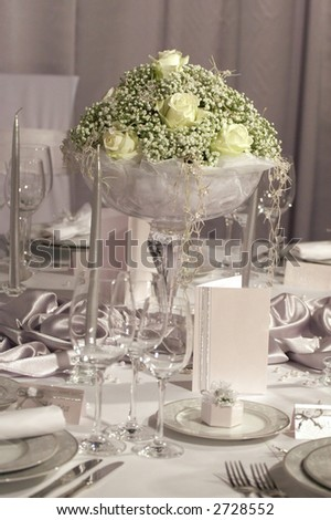 Detail of a fancy table set for wedding dinner - stock photo