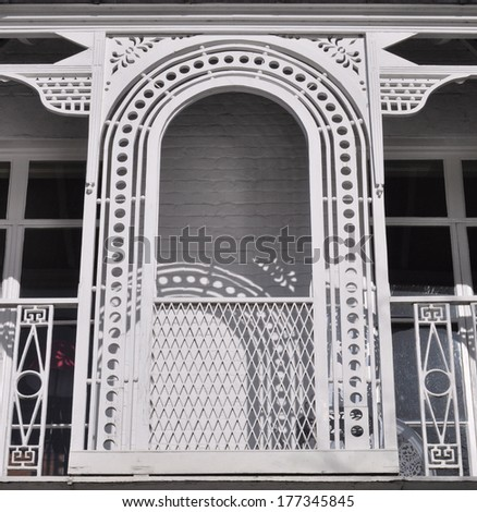 Detail of a fine early 19th century Regency period townhouse cast iron balcony in London, UK - stock photo