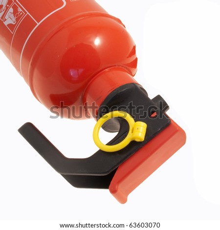 Detail of a fire extinguisher isolated on white - stock photo