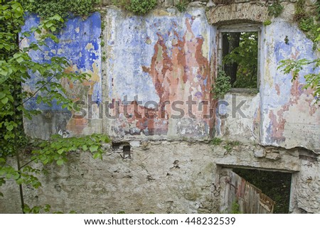 Detail of a former now dilapidated apartment building in a small village of the Istrian peninsula - stock photo