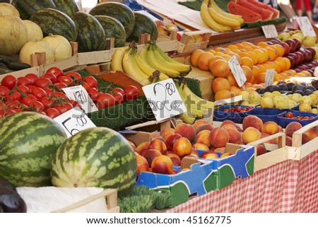 Detail of a fruit stall in Venice - stock photo