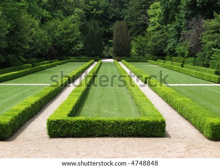 Detail of a garden with a geometric design - stock photo