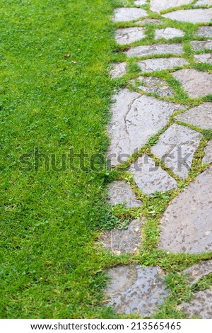 Detail of a garden with stone floor