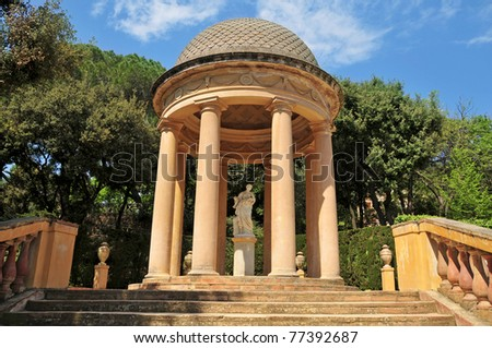 Detail of a gazebo in Parc del Laberint d'Horta in Barcelona, Spain, a eighteenth century public park