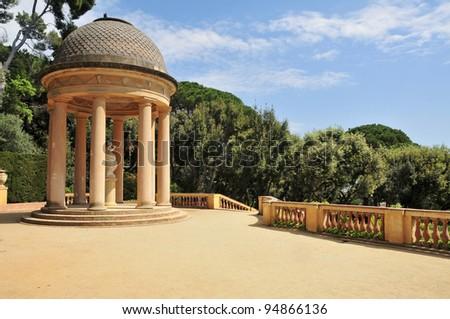 Detail of a gazebo in Parc del Laberint d'Horta in Barcelona, Spain, an eighteenth century public park - stock photo