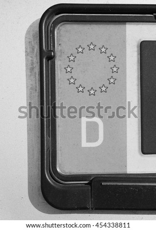 Detail of a German car plate with European Union flag in black and white