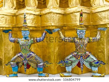 Detail of a giant, Wat Phra Kaew, Bangkok, Thailand - stock photo