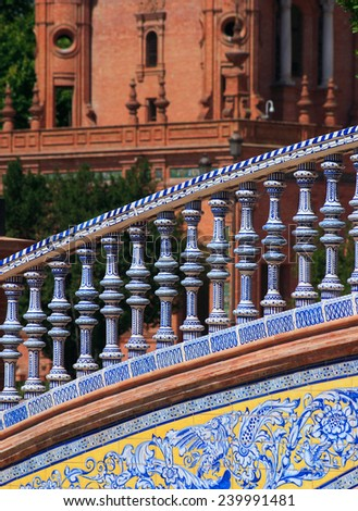 Detail of a glazed ceramic handrail on a bridge in the Plaza de Espana - Spanish Place or Square.Seville, Andalusia, Spain. (selective focus) - stock photo