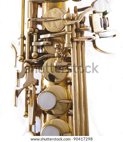 detail of a golden saxophone - stock photo