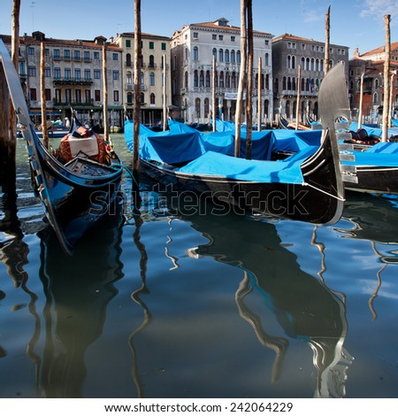 Detail of a gondola in a Venice - stock photo