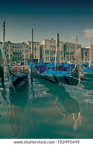 Detail of a gondola in a Venice, colorized photo - stock photo