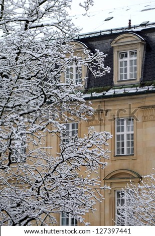 Detail Of A Grand Classical European House In The Winter Snow