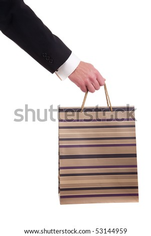 detail of a hand of a man doing shopping,with bags isolated over a white background. Studio shot.