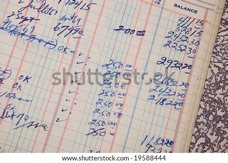 Detail of a handwritten ledger amount in blue color - stock photo
