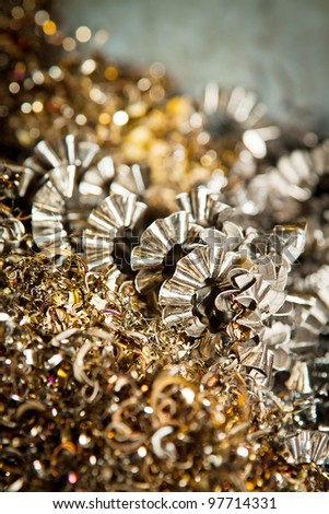 Detail of a heap of CNC metal shavings. - stock photo