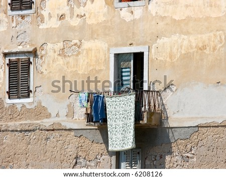 Detail of a house in a poor mediterranean area