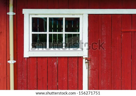 Detail of a house in Vikoyri in Norway