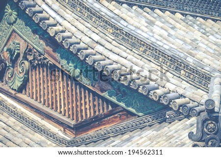 Detail of a japanese roof - stock photo